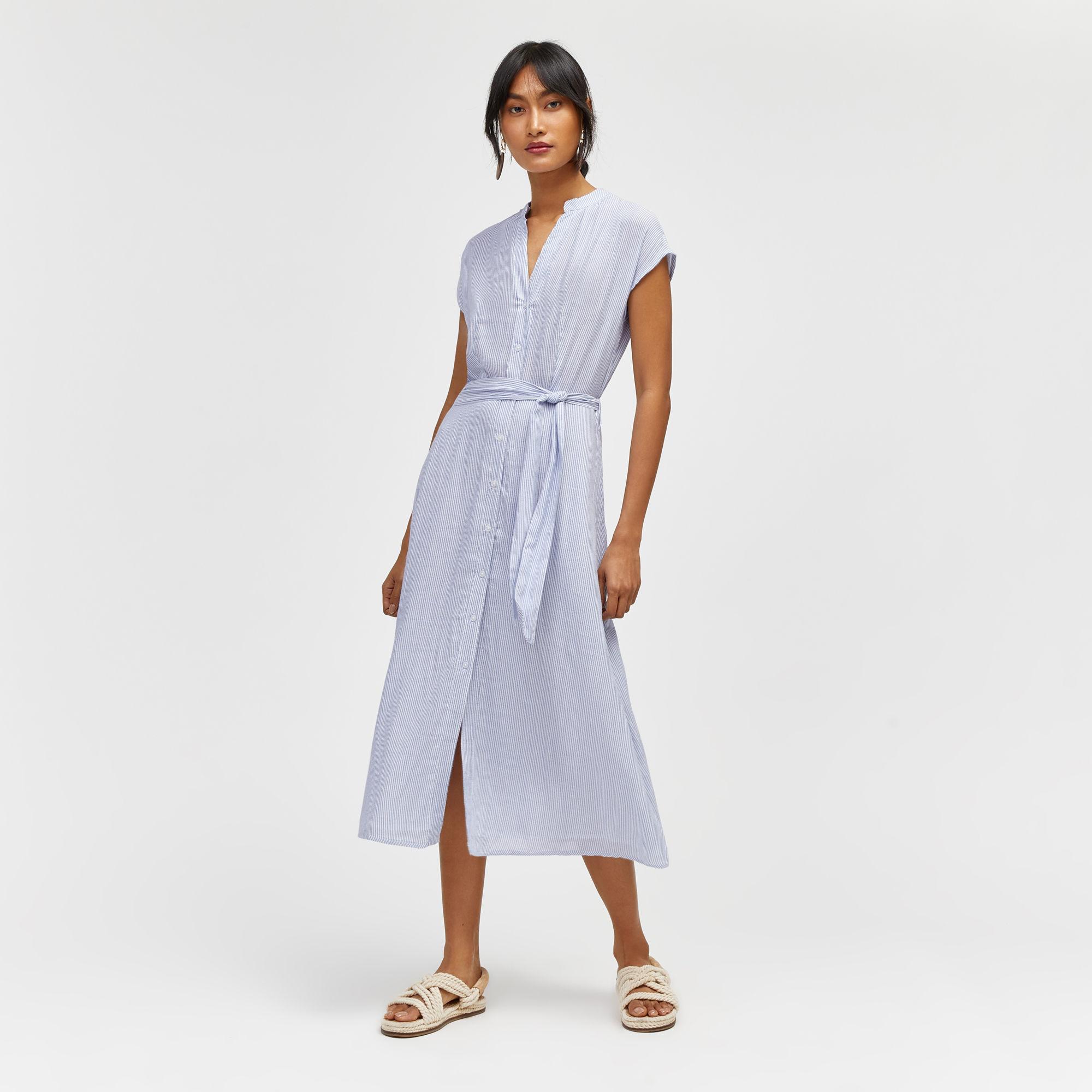 blue and white striped shirt dress warehouse