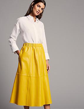 leather midi skirt M&S