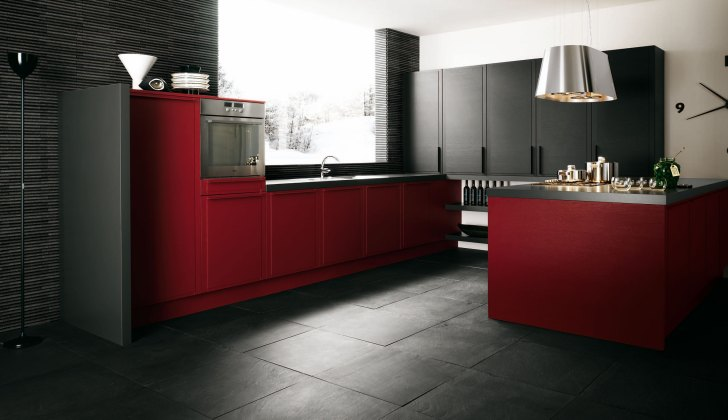 Modern Italian Kitchen Designs Cesar Dark Red Decor
