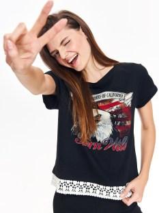 TROLL TROLL t-shirt με print & δαντελα