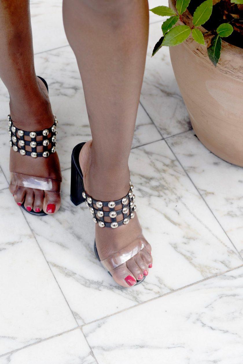 Simmi London - Nadia Black Studded Clear Mule Heels