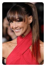 amazing ponytail with bangs