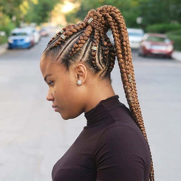 Golden ponytail braid style feed in braid hairstyles. - 52040418 feed in braids - Ladies: Choose From These Gorgeous Feed in Braid Hairstyles for your New Look