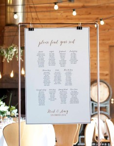 Copper seating chart also printed on stand rh stylemyday
