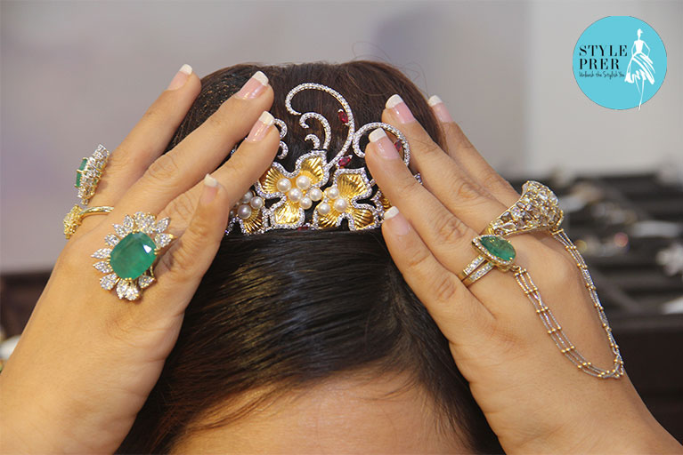 Tiara- Swarovski India. Designer- Gunjan Jewels Pvt Ltd. Jewelry- Chhaya Jain