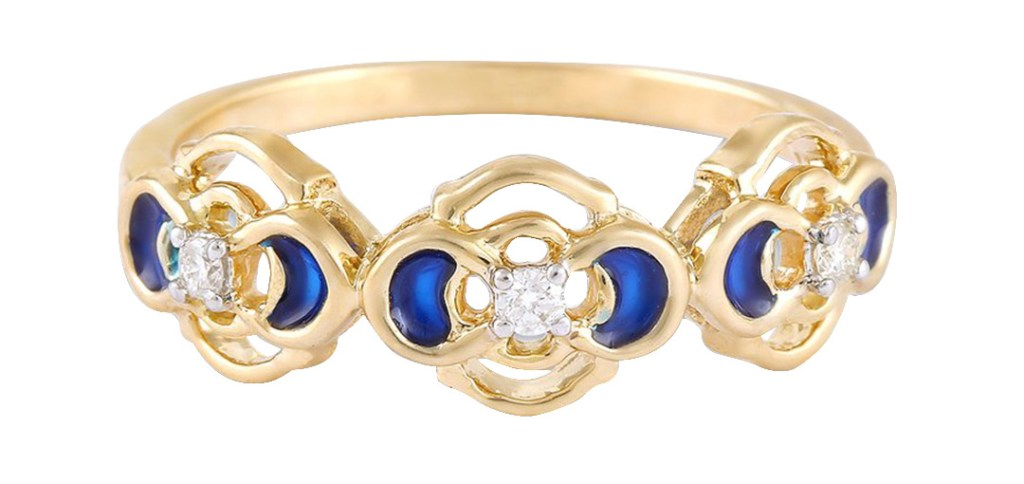 Dimaond & Enamel Ring, Mia by Tanisq in 14kt Gold. www.myntra.com