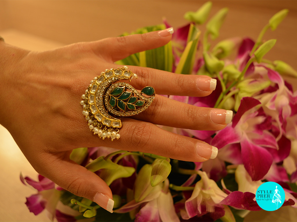 Polki, Emerald And Pearl Ring. Jewelry- Birdhichand Ghanshyamdas Jewellers
