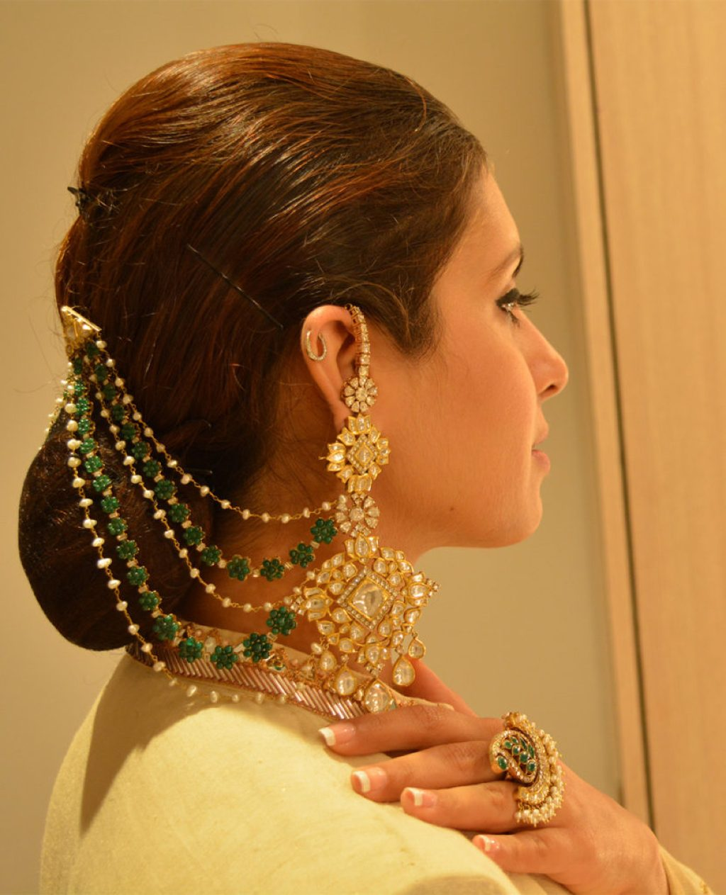 Jadav and Emerald Earrings & Ring- Birdhichand Ghanshyamdas Jewellers. Image- StylePrer