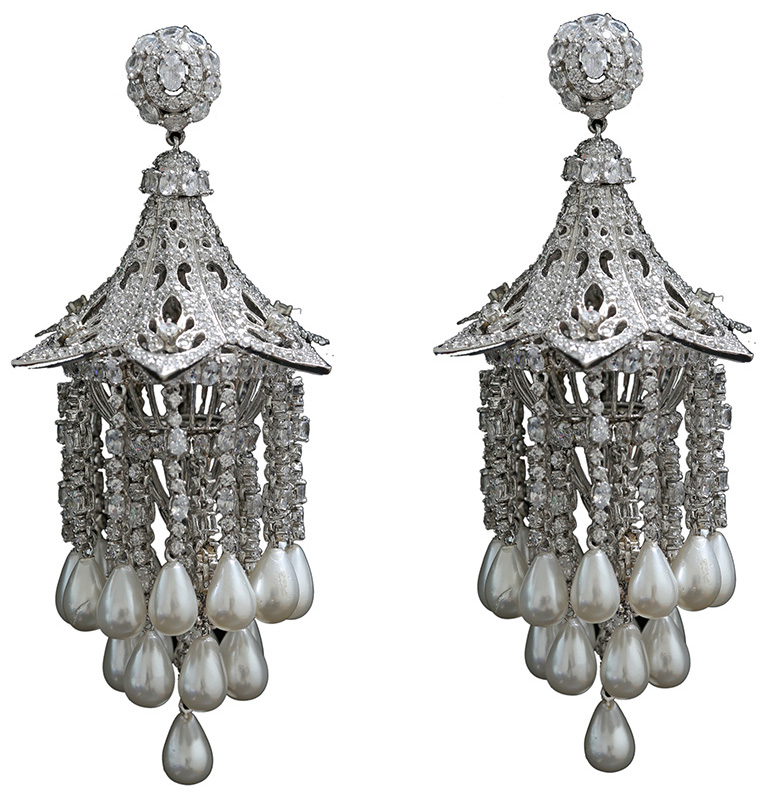 Diamond Jhumkas With Pearl Drops From Timeless By PNG. PC- StylePrer