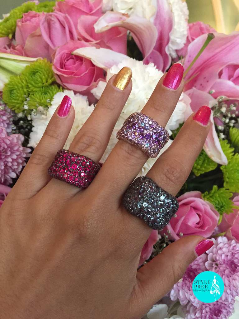 Fabergé Emotion(L-R)Ruby Ring, Purple Rose Gold Ring, Alexandrite & Diamond Ring