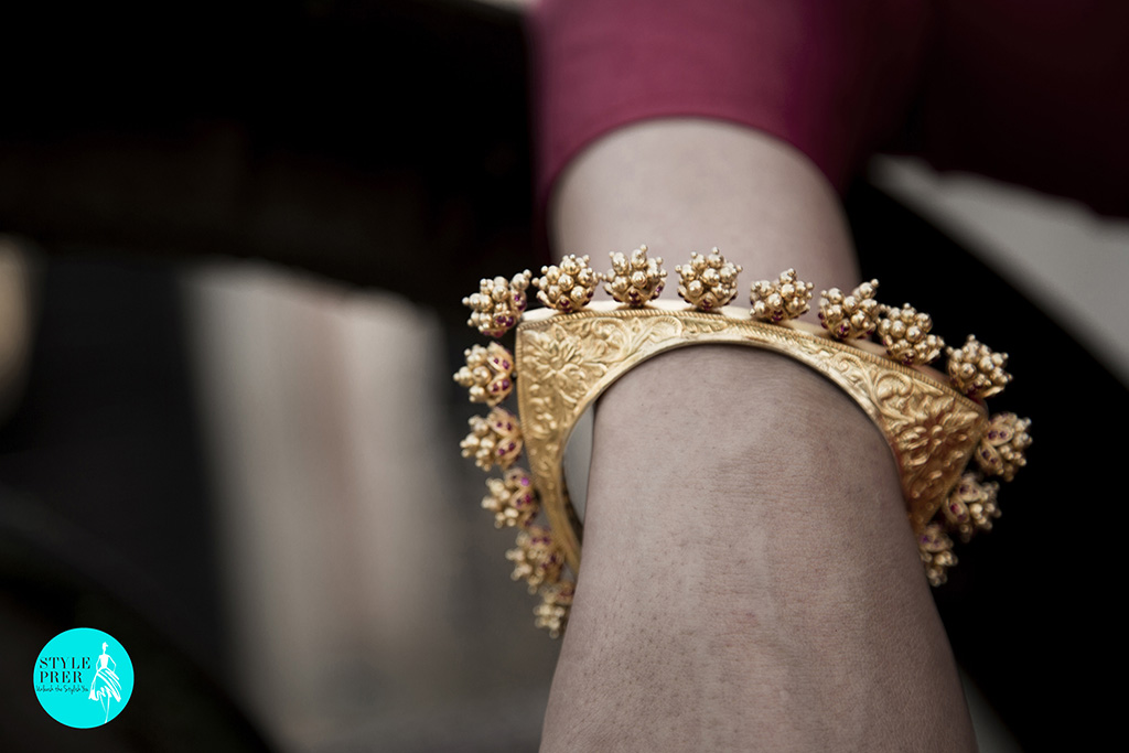 Gold Plated Textured Silver Triangular Kada (Bangle) With Ghungroo Around It. Location- Kilkipura
