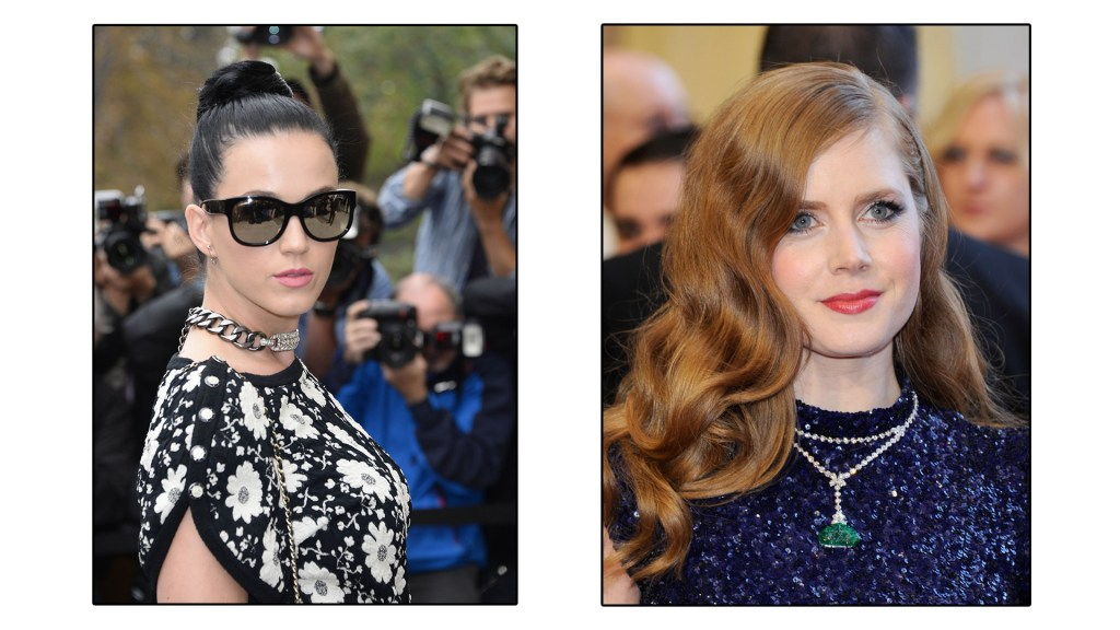 Katy Perry and Amy Adams exhibit the right way to carry off a necklace with a round neckline