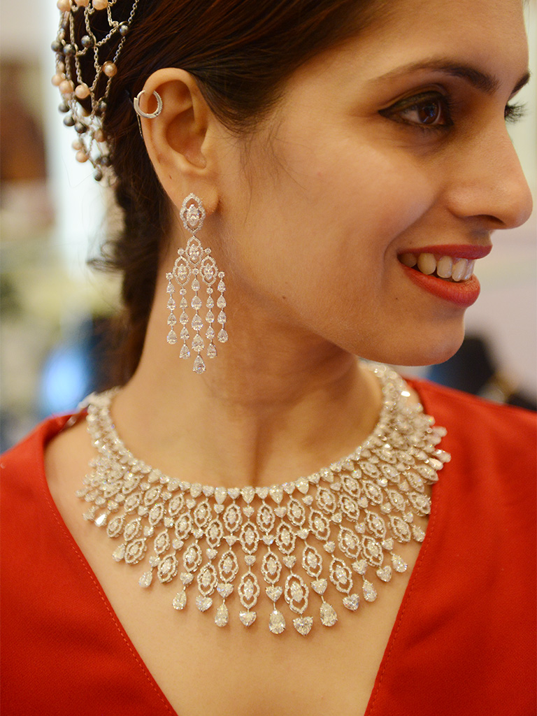 Fancy Diamond Necklace Set By Anmol Jewellers For Forevermark India