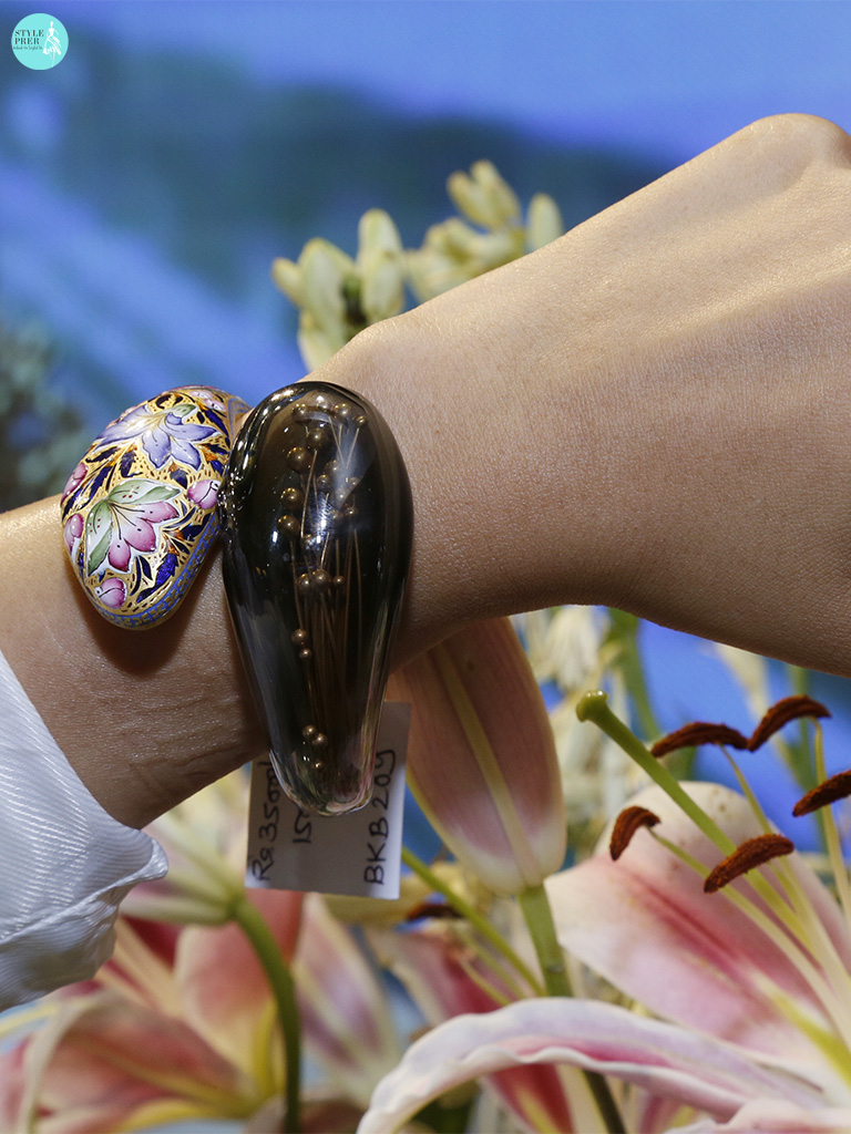 Gold Buds Embedded Artistically In A Floral Enamel Cuff By Anand Shah