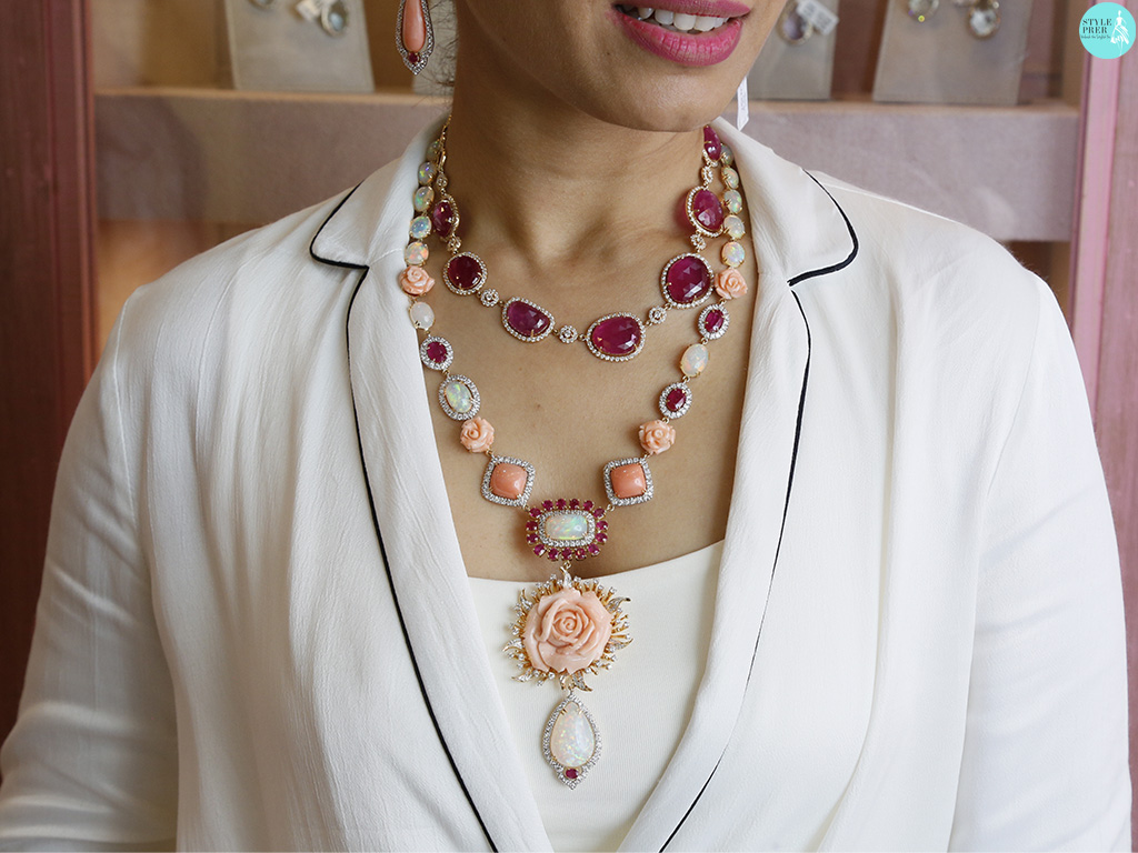 Layered Necklaces With Ruby, Opal, Coral By Exquisite