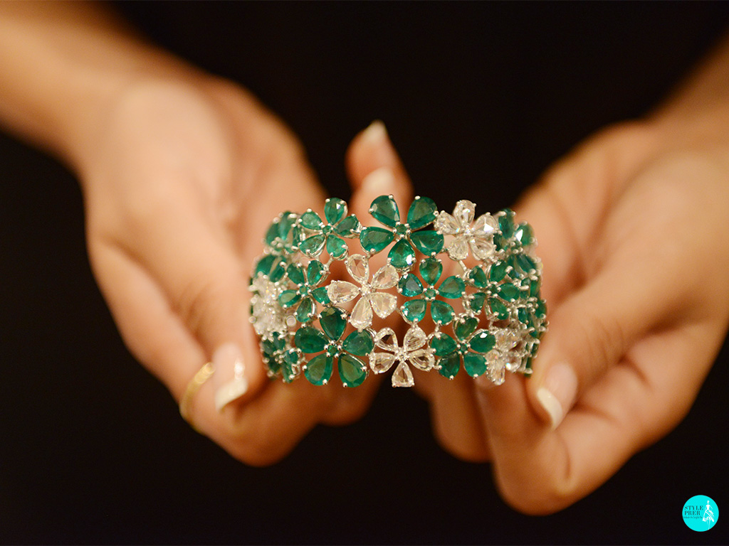 Emerald And Rose Cut Gemstone Jewellery Cuff By Renu Oberoi