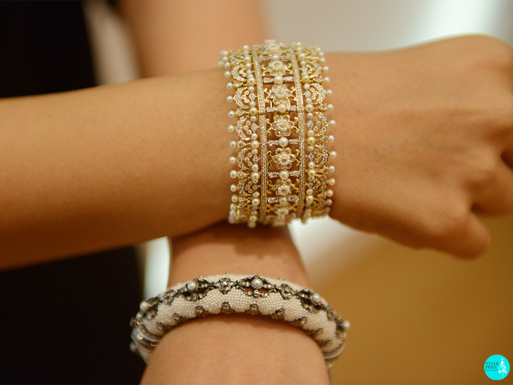 Intricately Woven Keshi Pearls Gemstone Jewellery In A Kada And Bangle By Moksh