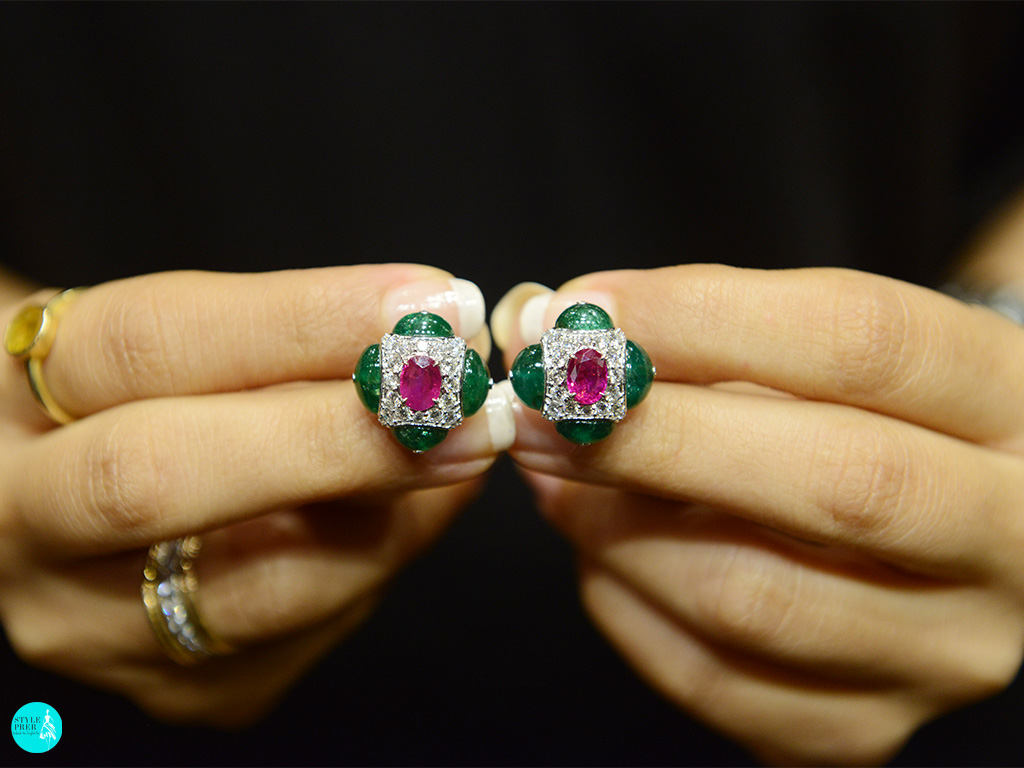 Ruby, Emerald, Diamond Cufflink By Savaab