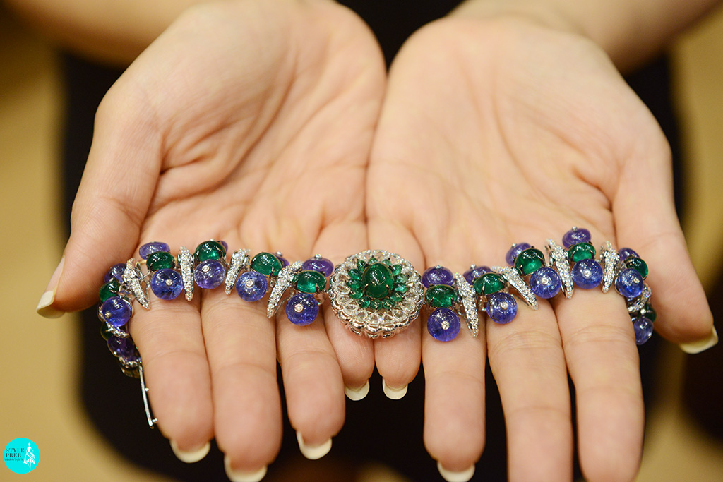 Emerald, Tanzanite And Polki Flexible Gemstone Cuff By Savaab