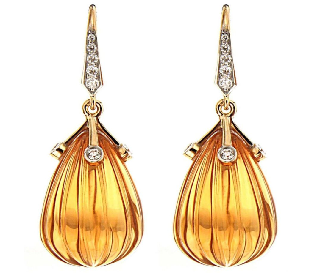 Carved Madeira Citrine Diamond Drop Earrings. Image Pinterest