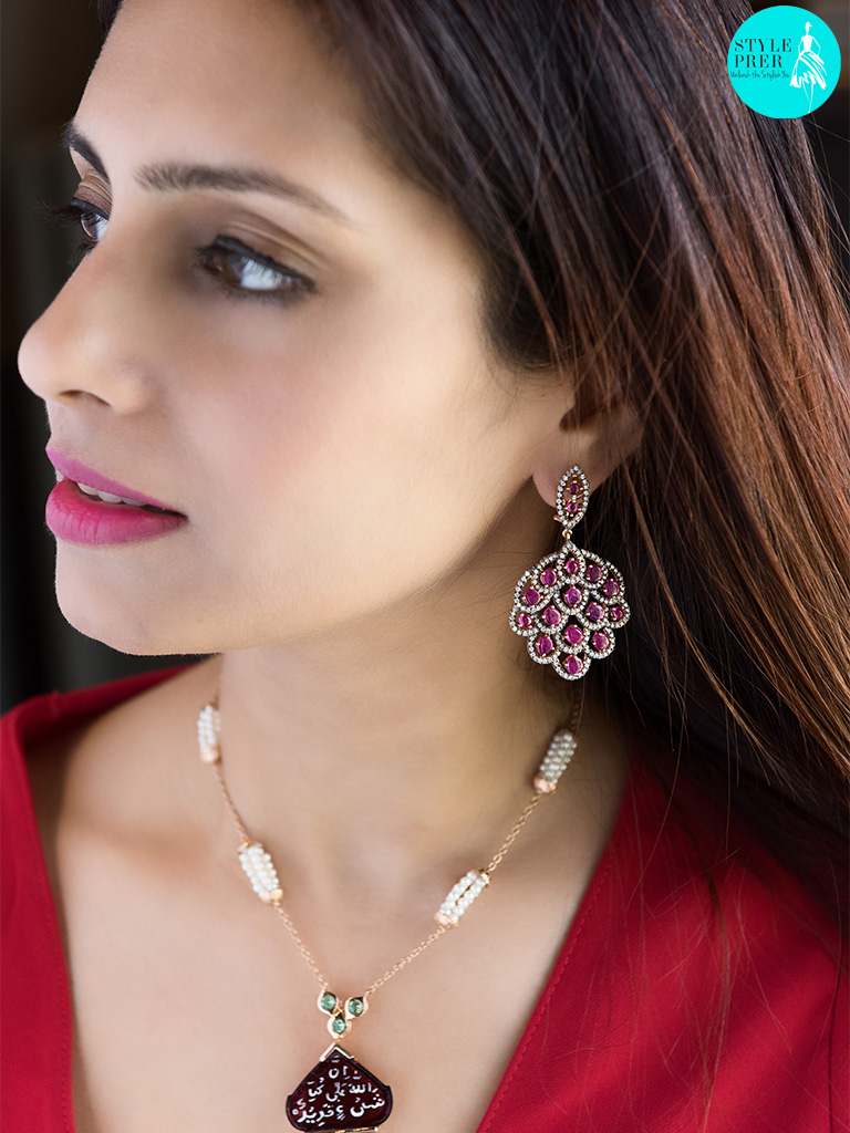 Ruby And Diamond Earring With A Carved Ruby Pendant With Islamic Inscriptions Strung In A Gold And Pearl  Mala