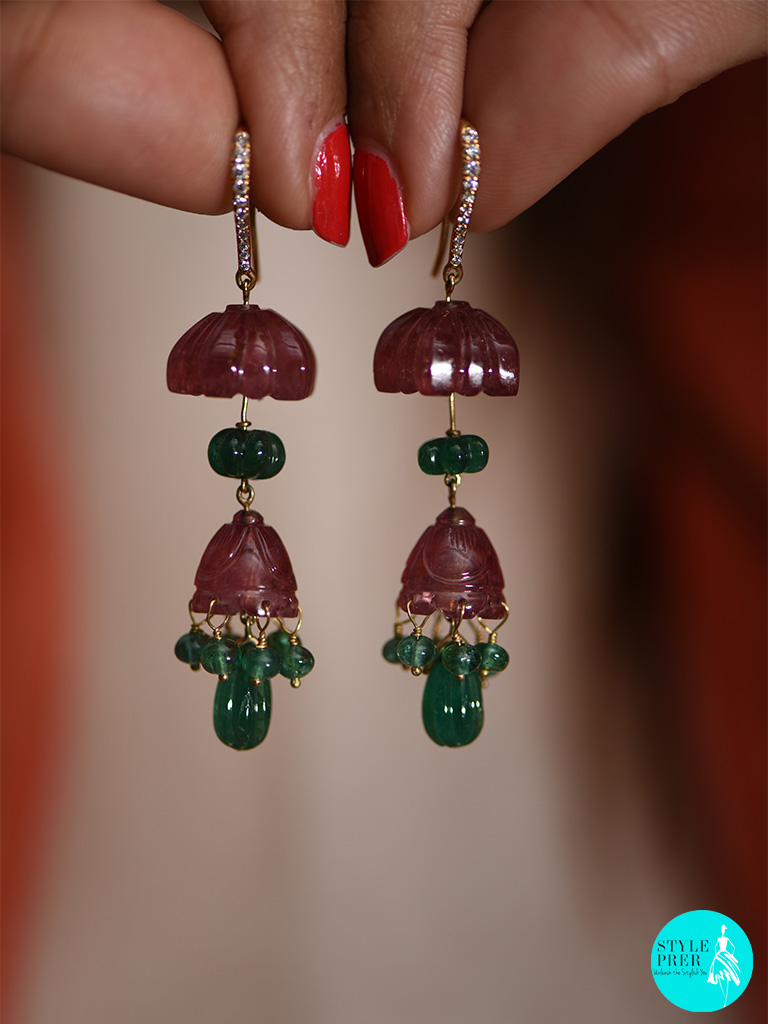 Carved Ruby And Emerald Earrings By Gyan Jewels At Gyan Museum