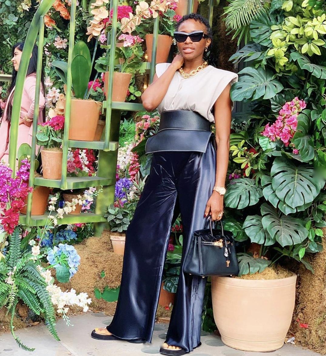Lisa Folawiyo blue velour trousers stylerave