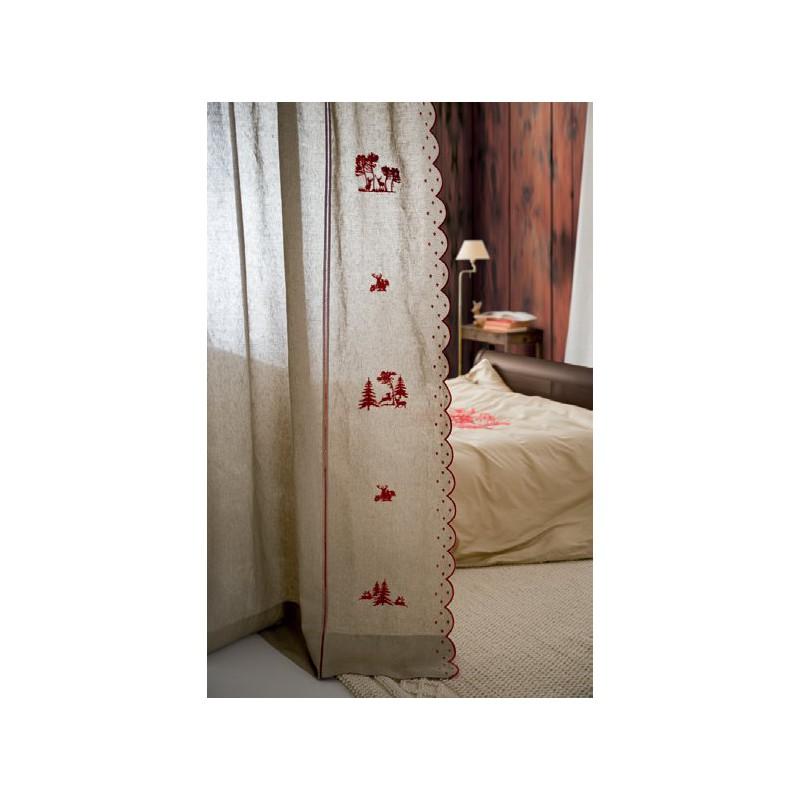 panneau de rideau tenda crans en lin ecru avec broderies rouges motifs montagne dim 210x260cm mastro raphael