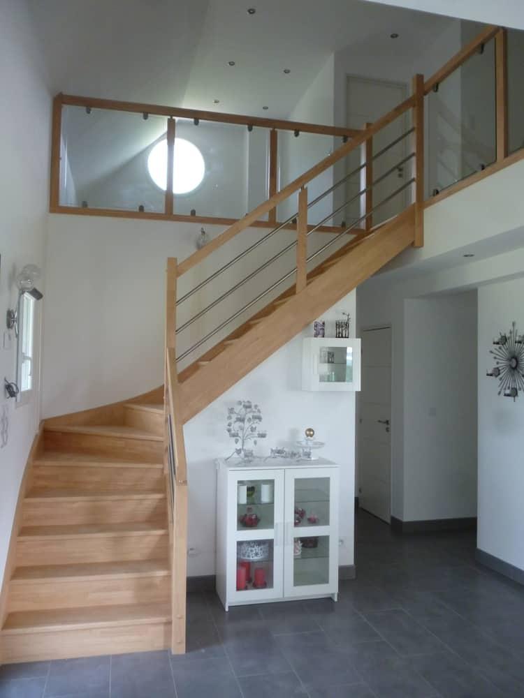 Styl'escalier : Gamme Création escalier avec rampe inox et étage vitré