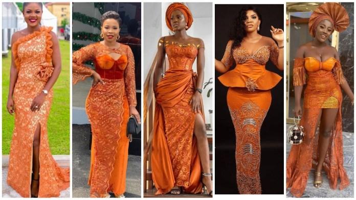 Fascinating Burnt Orange Colour Dress For Aso-Ebi/Owambe
