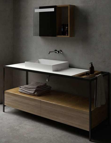 meuble de salle de bain avec chassis metallique noir