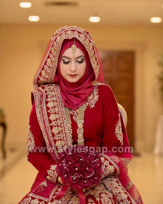 Latest Bridal Hijab Styles Dresses Designs Collection 2019