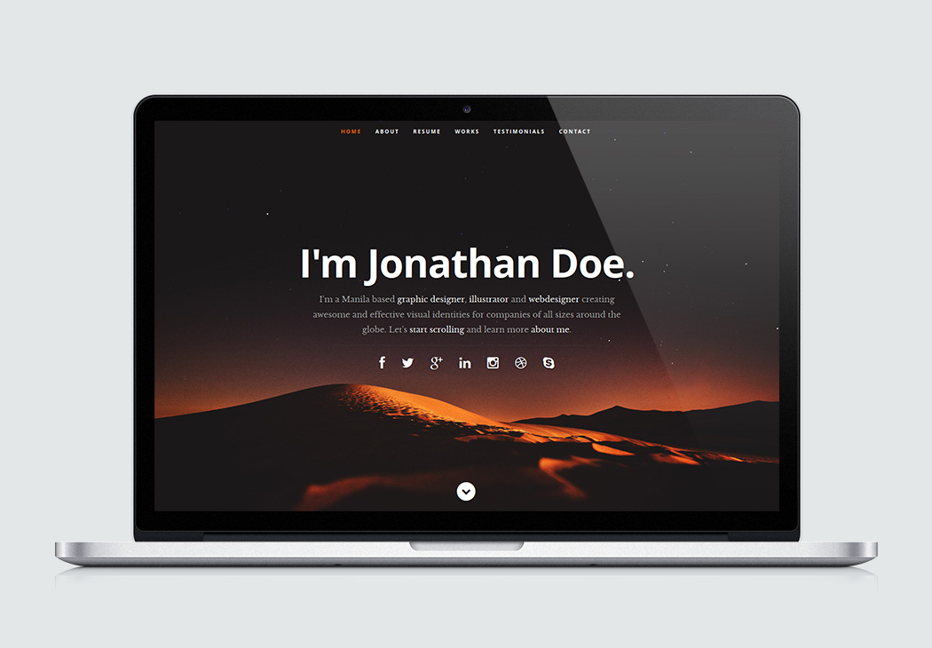 free website template one page web resume download