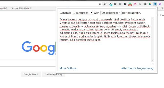 Chrome Extension for Web Designers - Lorem Ipsum Generator