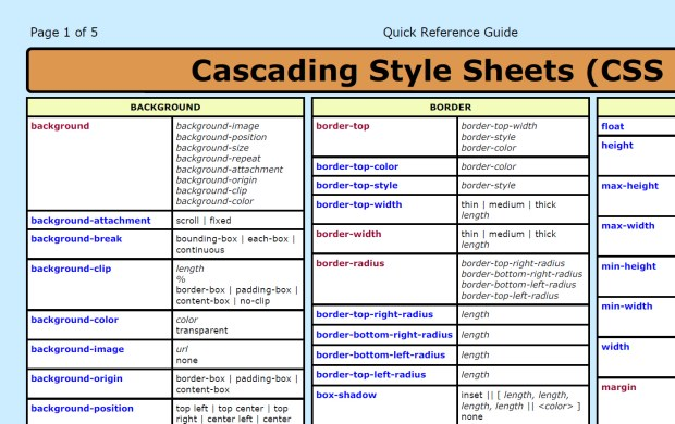 CSS3 Cheat Sheet (PDF)