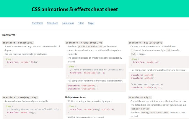 CSS Animations & Effects Cheat Sheet