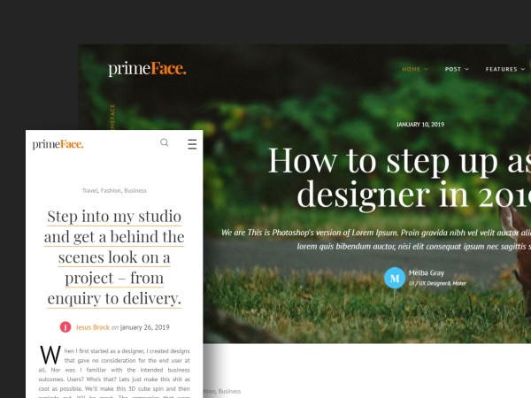 PrimeFace - HTML Responsive Blog and eCommerce Template