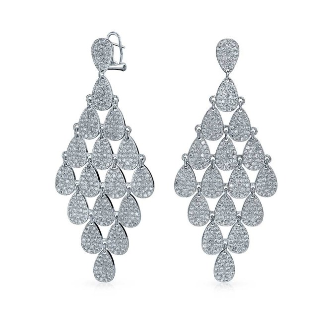 Teardrop Micro Pave Cz Chandelier Earrings Omega Back Lwspejx