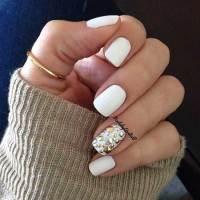 White Ring Finger Nail Art Design - Styles 2018