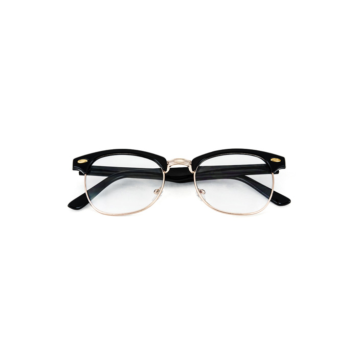 Black Gold Vintage Inspired 80s Clubmaster Clear Lens