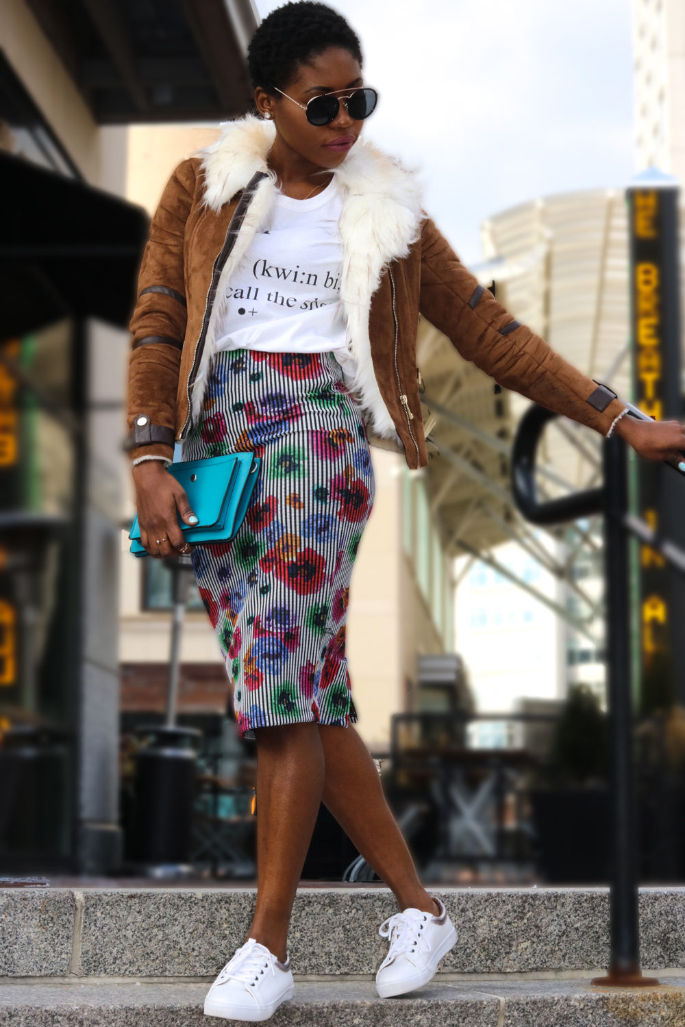 floral skirt and tan jacket