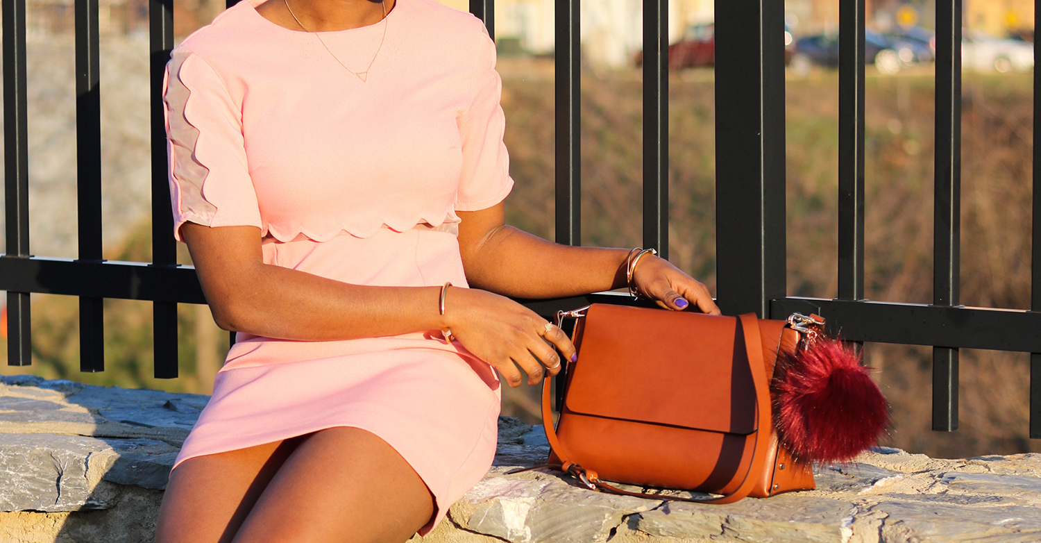 scallop dress and rusty brown bags