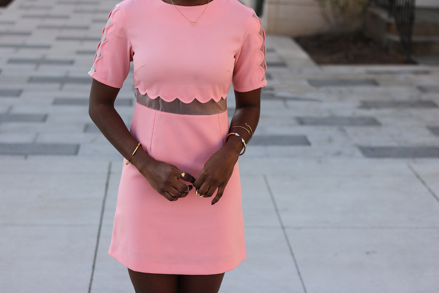 soft pink scallop dress