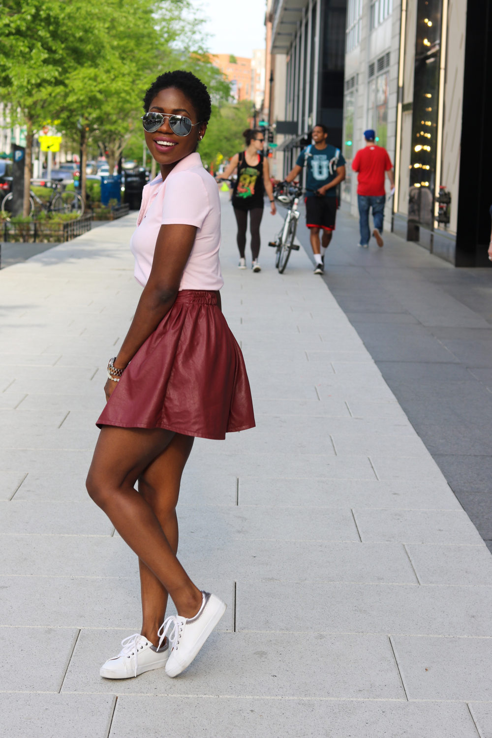 style synopsis polo shirt n leather skirt
