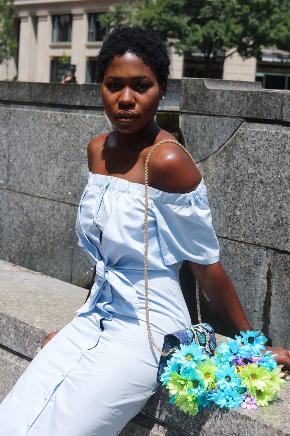 style synopsis off shoulder baby blue dress