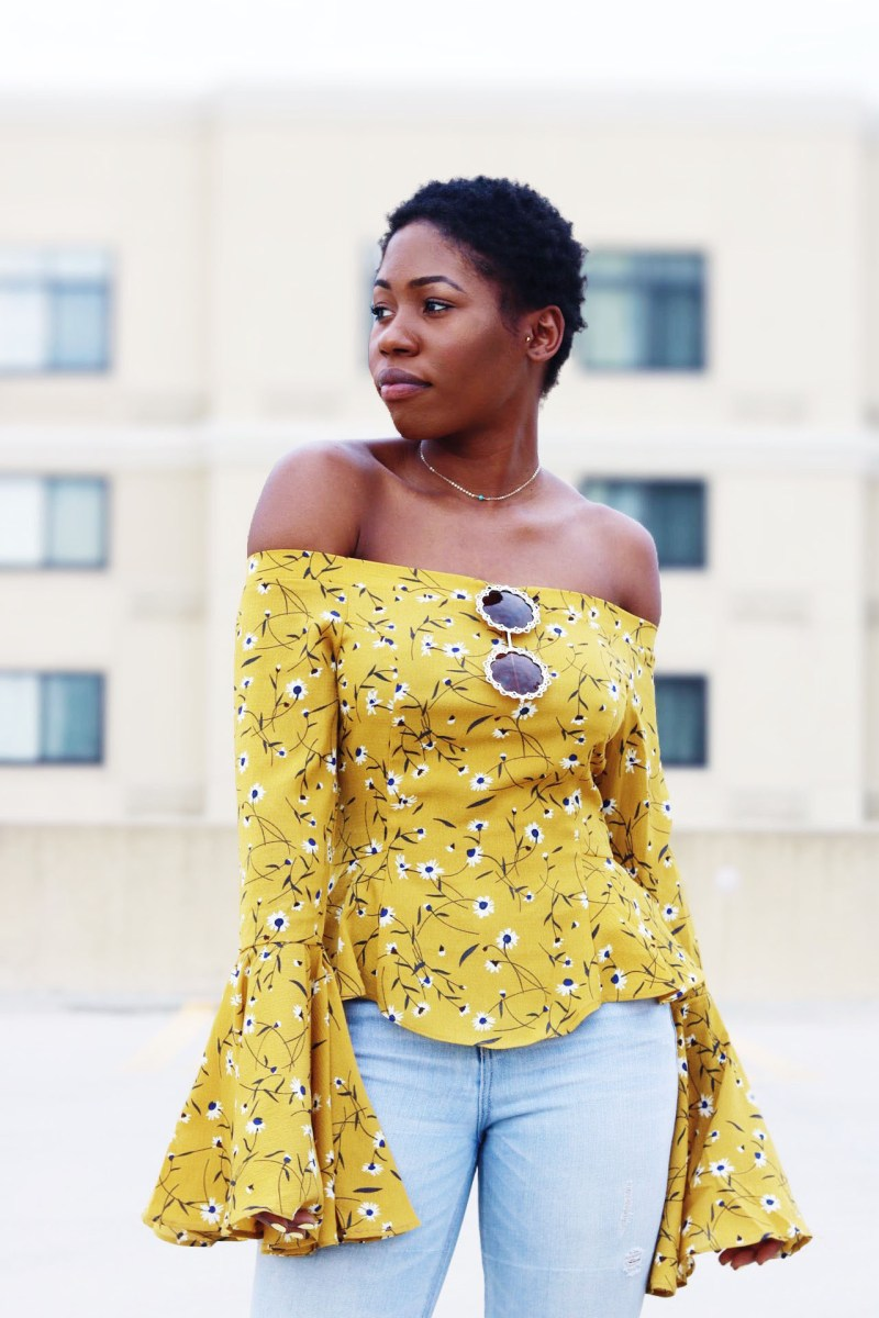 MUSTARD OFF THE SHOULDER BELL SLEEVE TOP