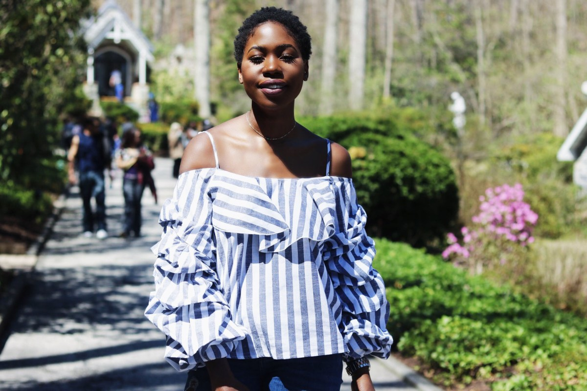 SLEEVE RUFFLE TOP: NAVY & WHITE STRIPES