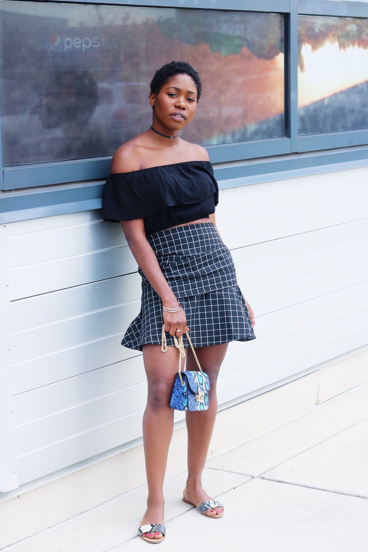 style-synopsis-off-shoulder-top-check-flared-skirt-summer-look.