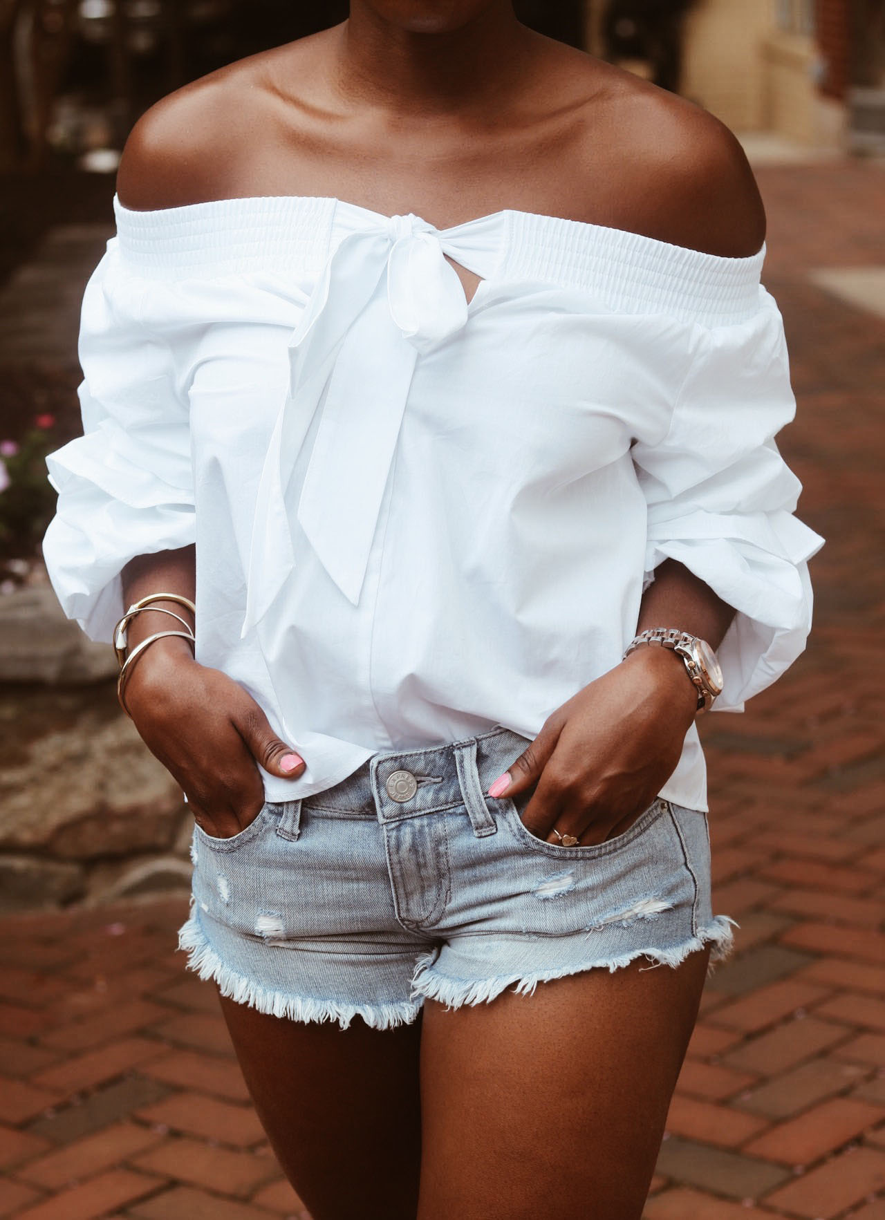 style-synopsis-off-shoulder-top-denim-shorts-gingham-sandals
