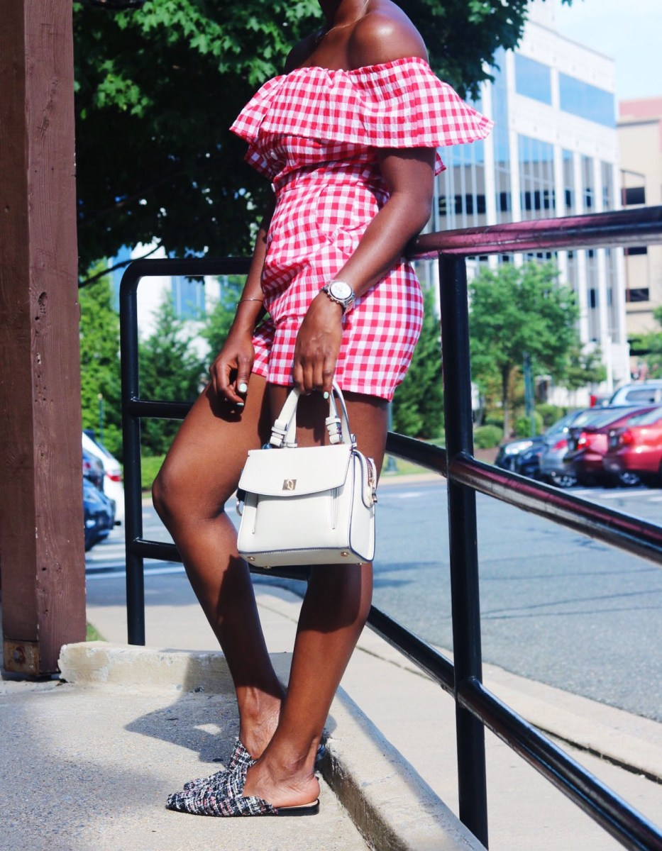 LITTLE RUFFLE GINGHAM ROMPER
